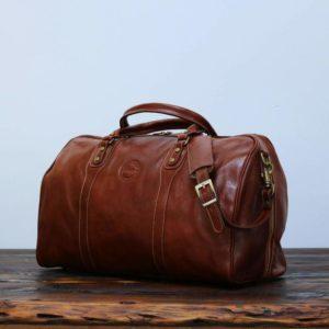 Cenzo Duffle Vecchio Brown Italian Leather Weekender Travel Bag 1