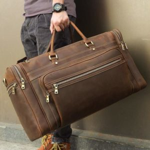 """Compalo 24"""" Oversized Leather Duffle Bag for Men 2"""