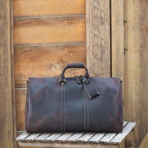 Polare 23'' Full Grain Leather Travel Duffel Weekender Bag 8