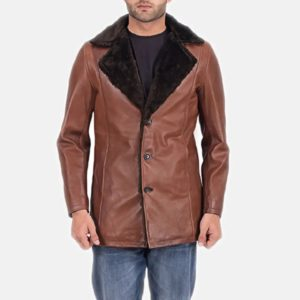 Cinnamon Brown Leather Fur Coat 1