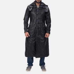 Huntsman Black Hooded Leather Trench Coat 2