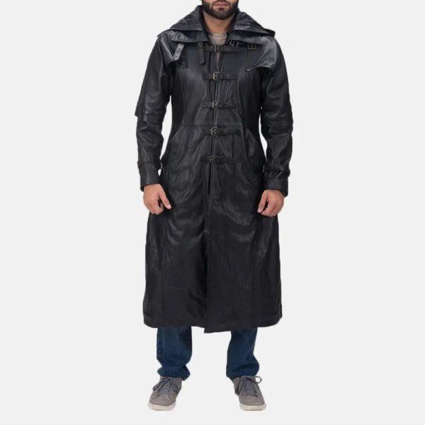Huntsman Black Hooded Leather Trench Coat 1
