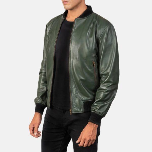 Shane Green Leather Bomber Jacket 1