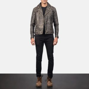 Danny Quilted Brown Leather Biker Jacket 1
