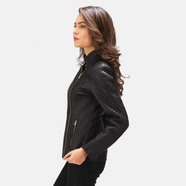 Orient Grain Quilted Black Leather Biker Jacket