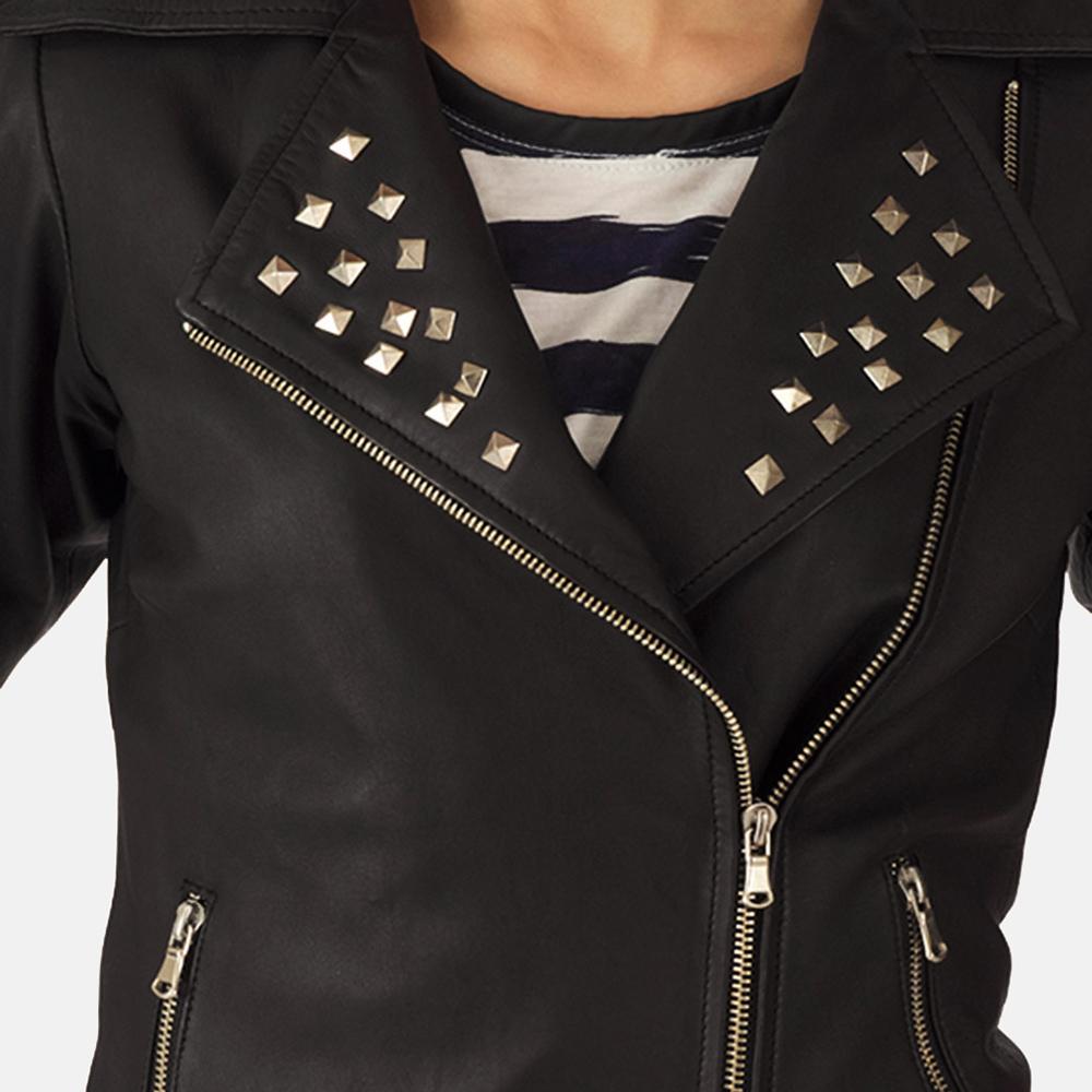 Starlet Black Leather Biker Jacket
