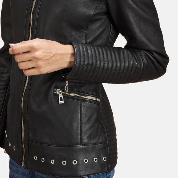 Haley Ray Black Leather Biker Jacket