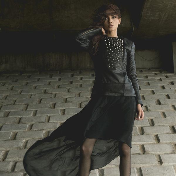 Celeste Studded Black Leather Jacket