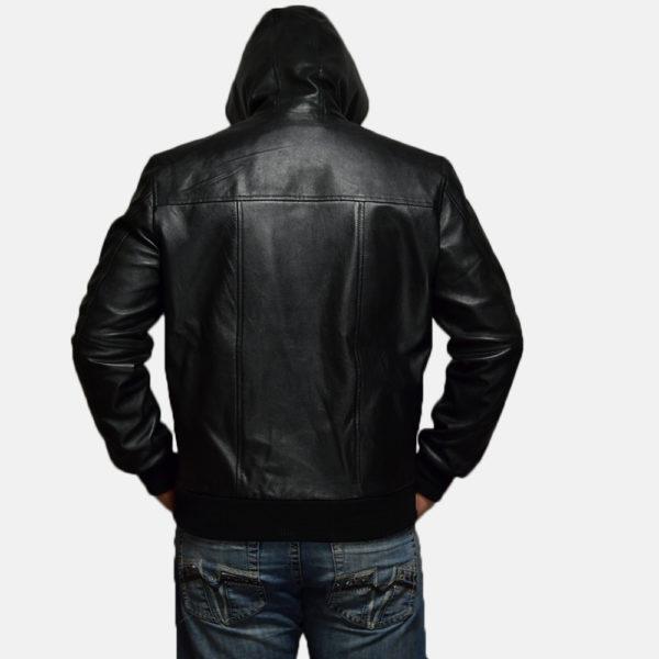 Nintenzo Black Hooded Leather Jacket