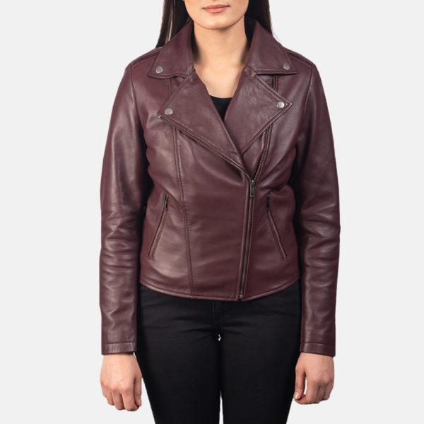 Flashback Maroon Leather Biker Jacket