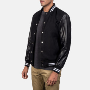 Harrison Black Hybrid Varsity Jacket