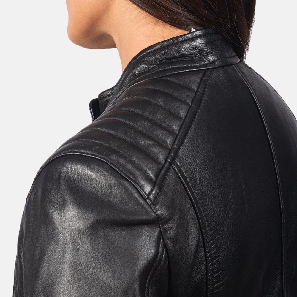 Kelsee Black Leather Biker Jacket