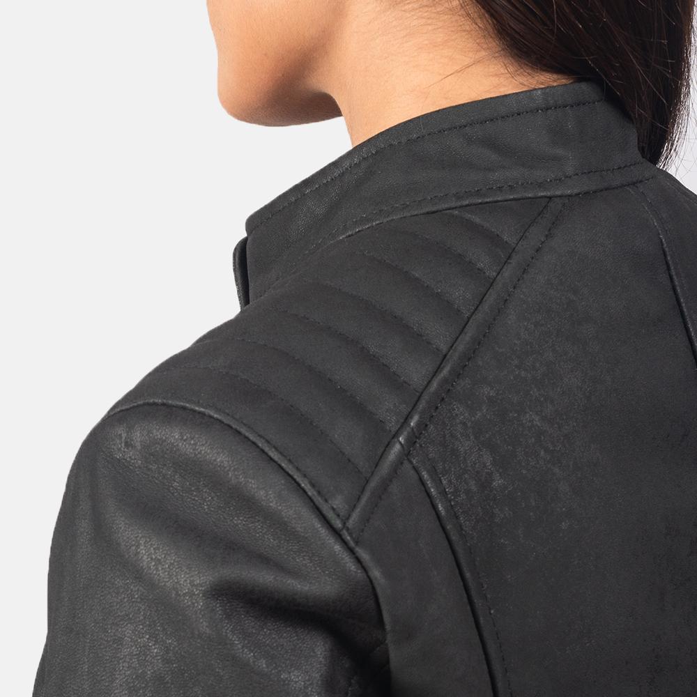 Kelsee Distressed Black Leather Biker Jacket