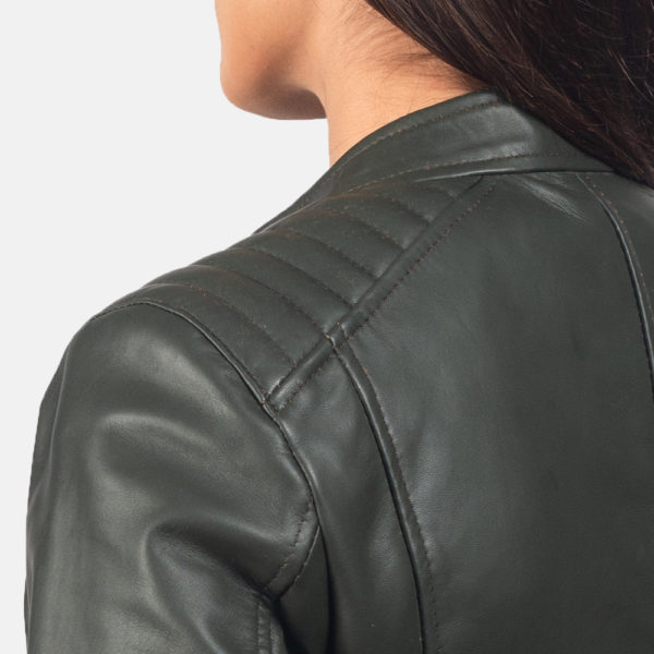Kelsee Green Leather Biker Jacket