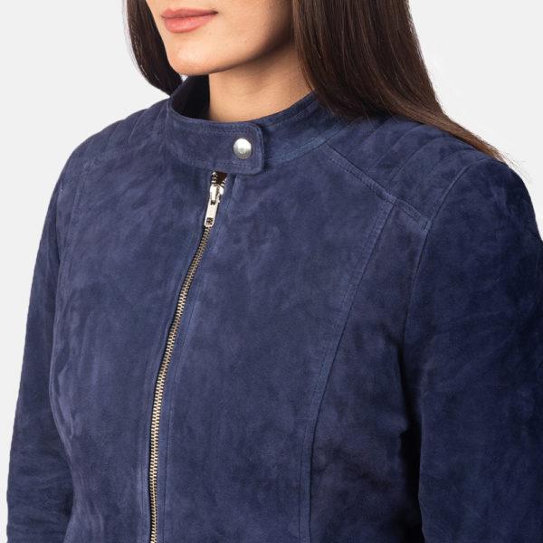 Kelsee Navy Blue Suede Biker Jacket