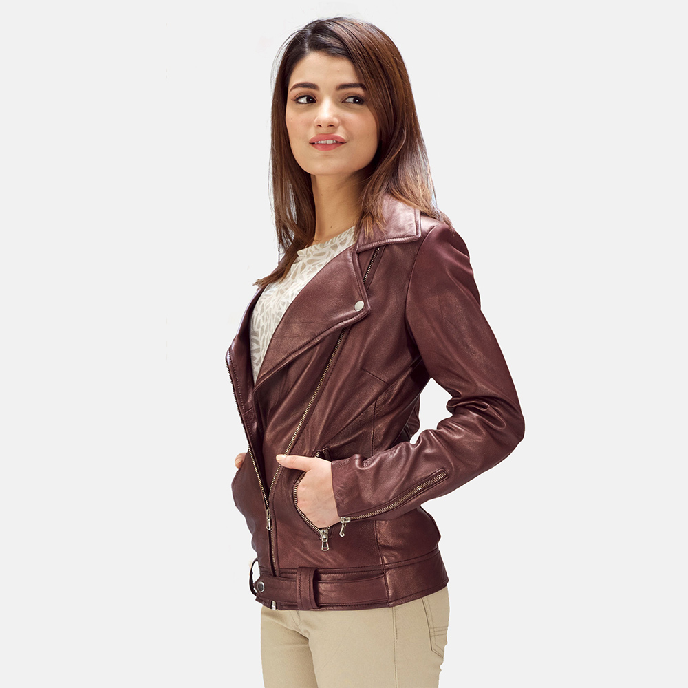 Rumy Maroon Leather Biker Jacket