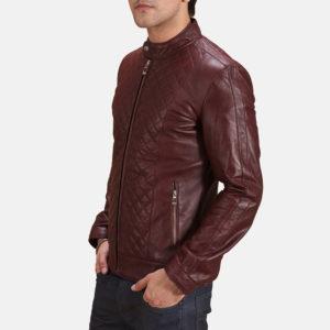 Burgunn Dee Maroon Leather Biker Jacket