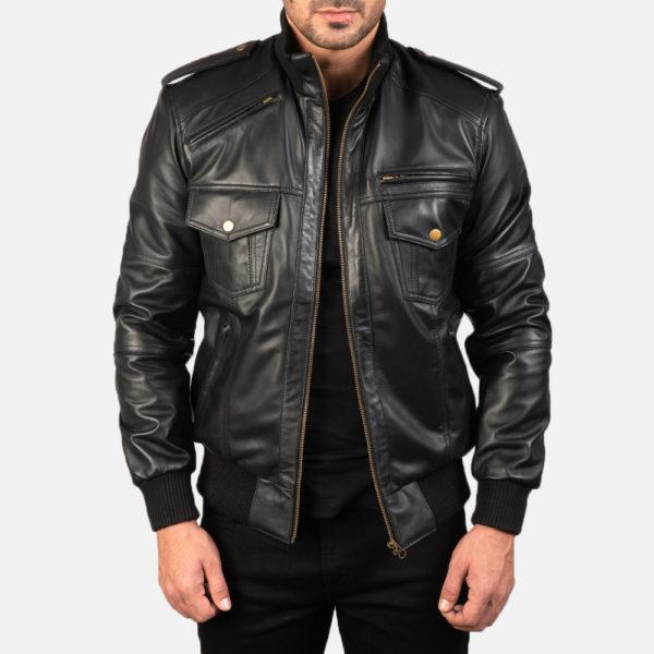 Agent Shadow Black Leather Bomber Jacket
