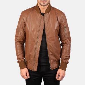 Bomia Ma-1 Brown Leather Bomber Jacket