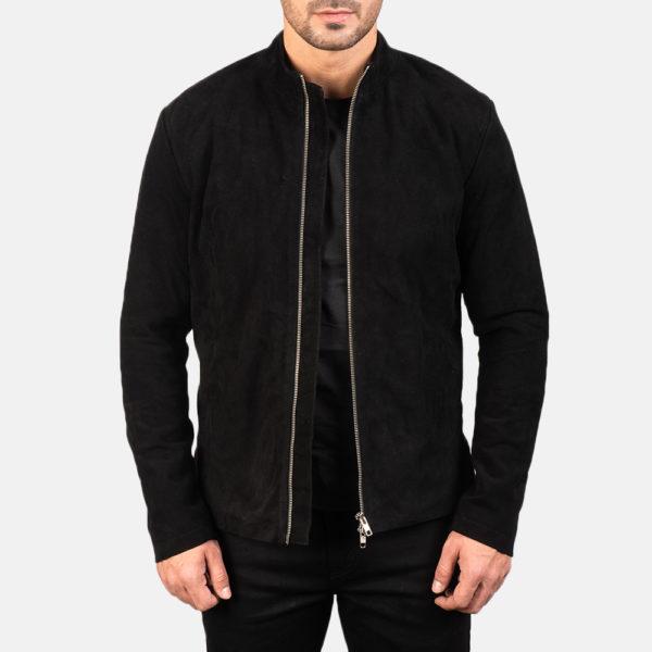 Charcoal Black Suede Biker Jacket