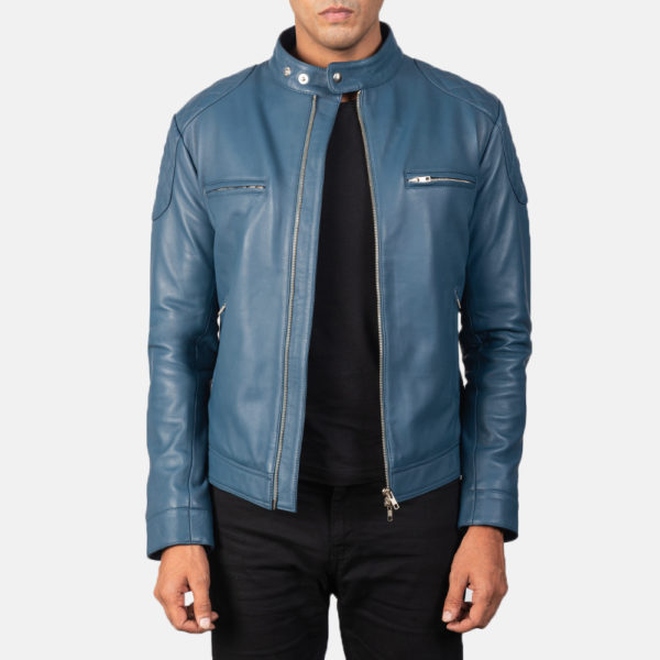 Gatsby Blue Leather Biker Jacket