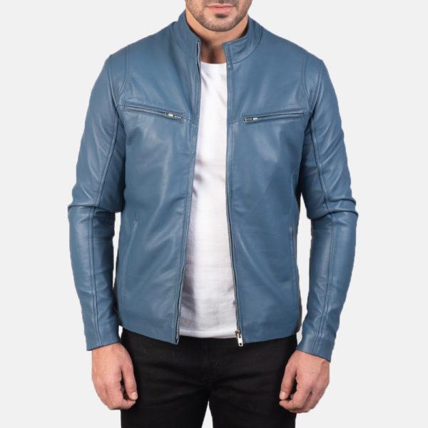 Ionic Blue Leather Biker Jacket
