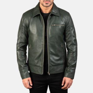 Lavendard Green Leather Biker Jacket