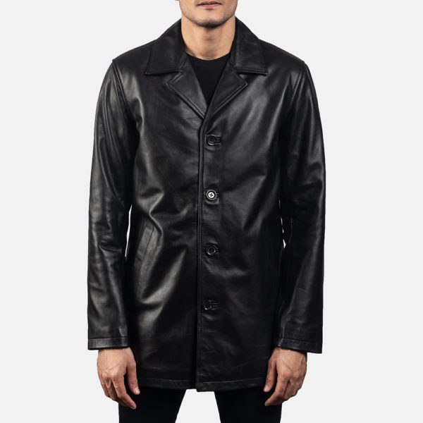 Urban Slate Black Leather Coat