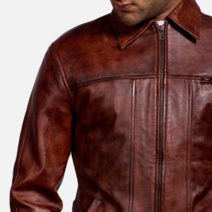 Abstract Maroon Leather Jacket