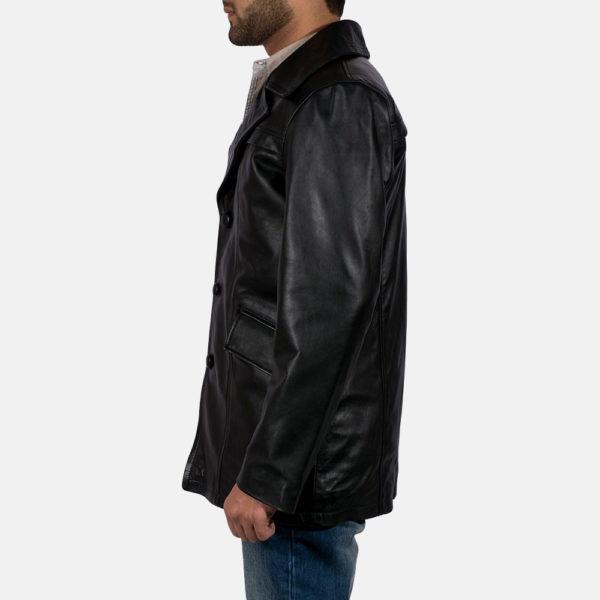 Brawnton Black Leather Coat