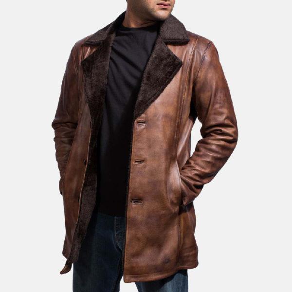 Cinnamon Distressed Leather Fur Coat