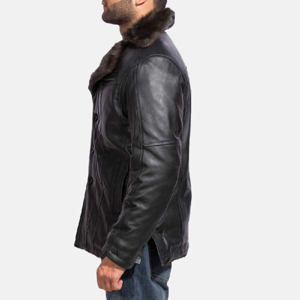 Furcliff Black Leather Coat