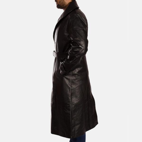 Hooligan Black Leather Trench Coat