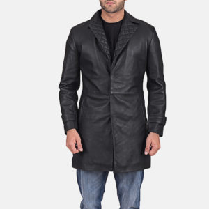 Infinity Black Leather Coat