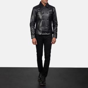 Mod Black Leather Peacoat