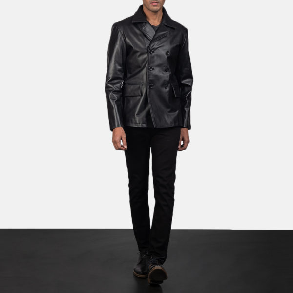 Mr. Bailey Black Leather Naval Peacoat