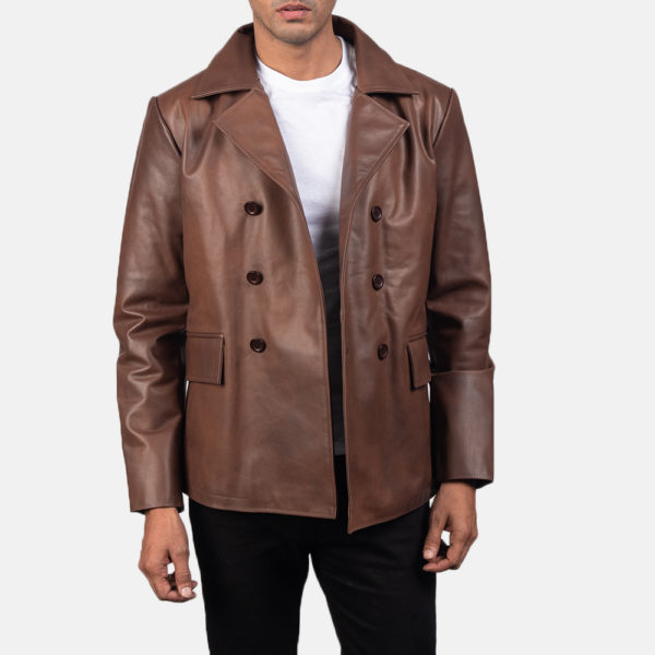 Mr. Bailey Brown Leather Naval Peacoat
