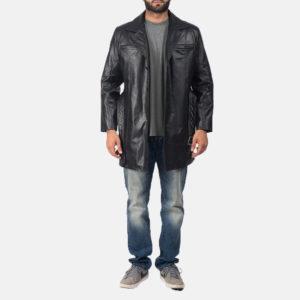 Jordan Black Leather Coat