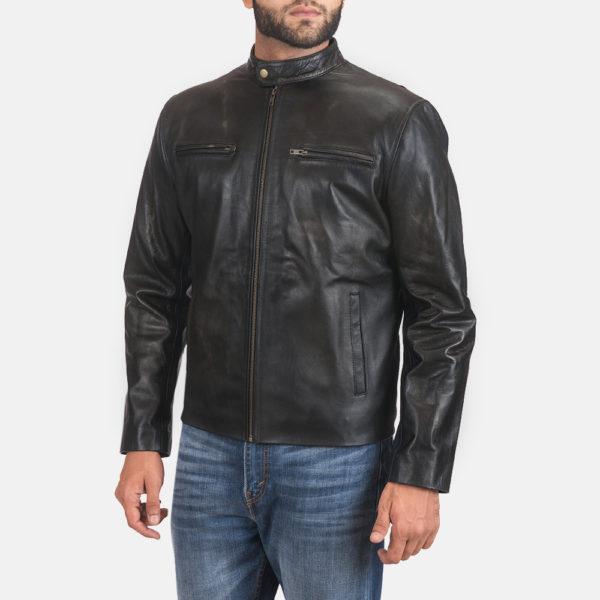 Rustic Black Leather Biker Jacket