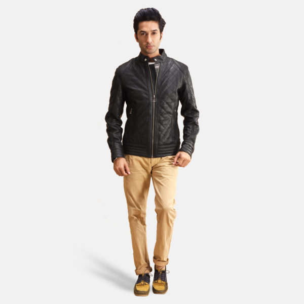 Henry Quilted Black Leather Jacket