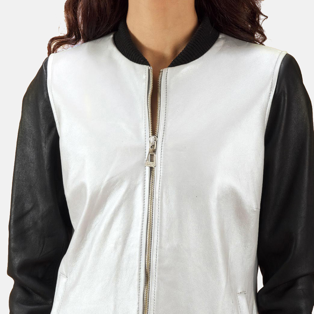 Cole Silver Leather Bomber Jacket