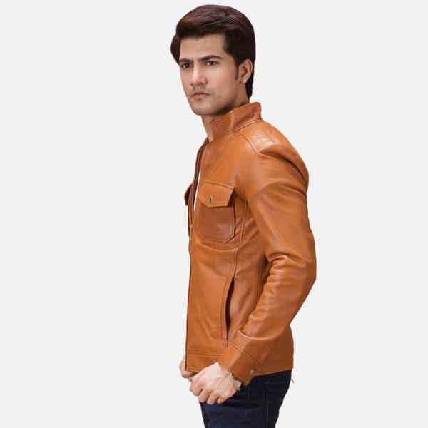 Voltex Tan Leather Biker Jacket