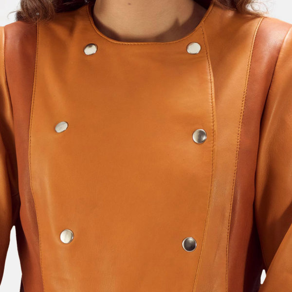 County Tan Overlap Leather Jacket