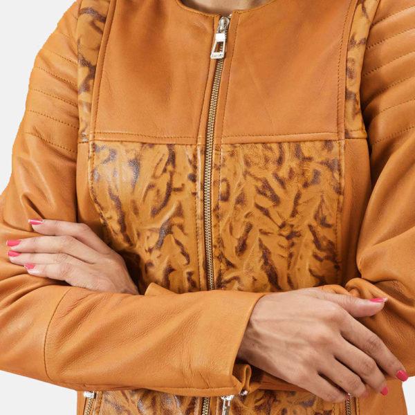 Sandy Tan Dye Leather Biker Jacket