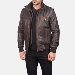 Glen Street Brown Leather Bomber Jacket