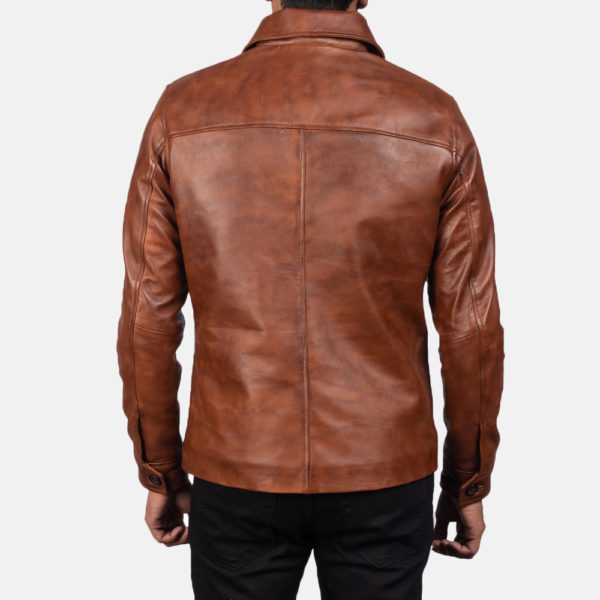 Waffle Brown Leather Jacket