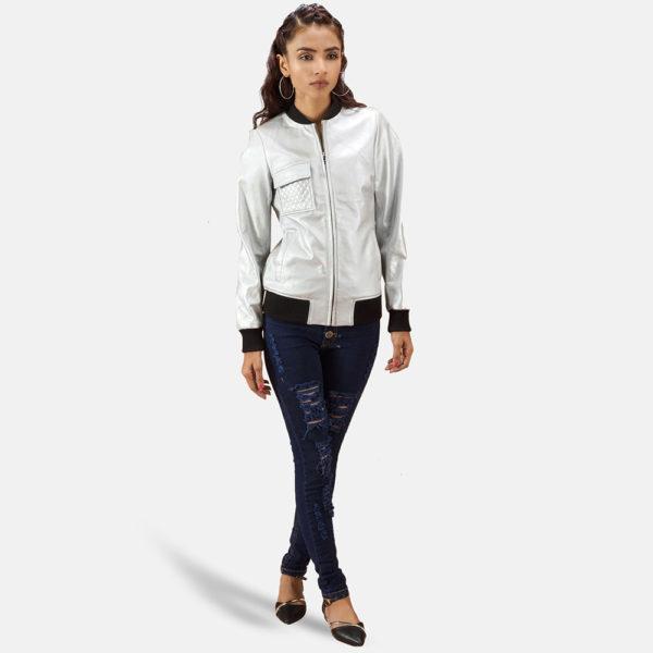 Lana Silver Leather Bomber Jacket