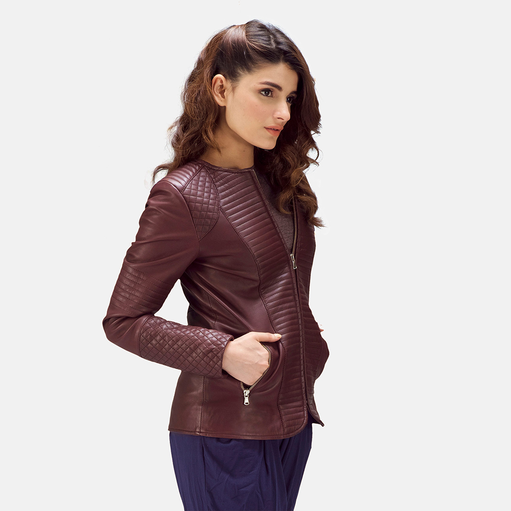 Nexi Quilted Maroon Leather Jacket