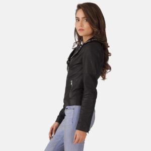 Sally Mae Studded Black Leather Biker Jacket