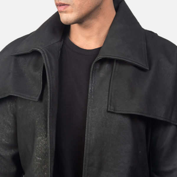 Classic Distressed Black Leather Duster